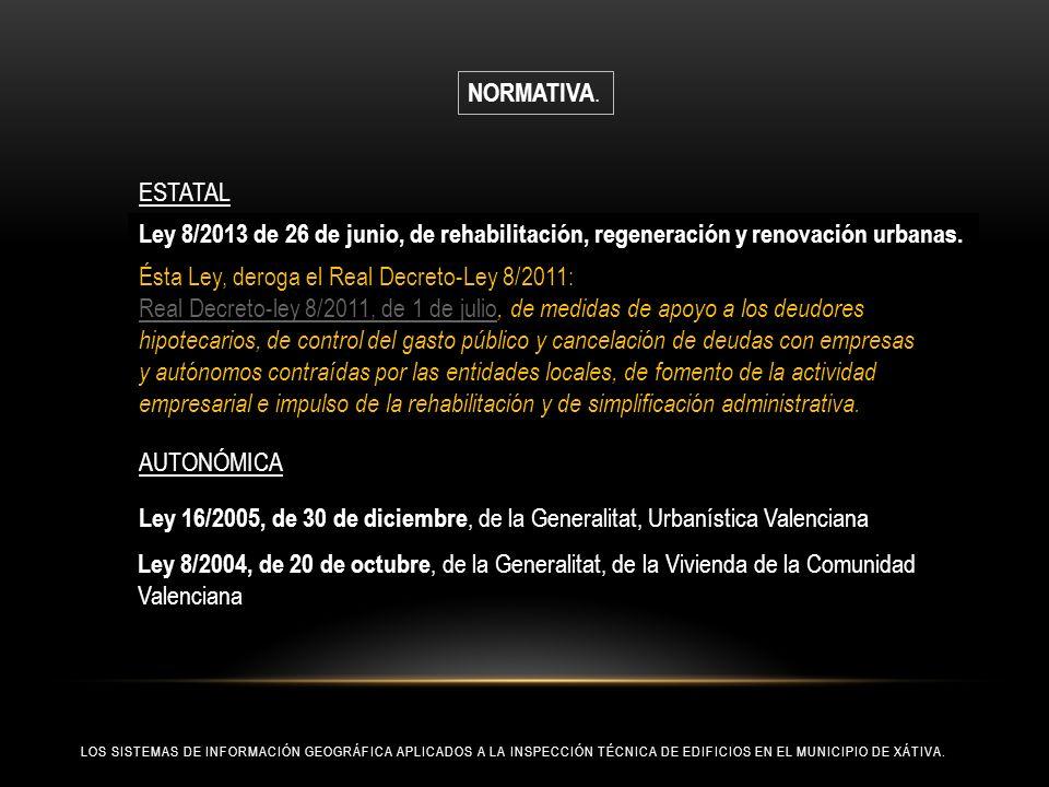 LOS SISTEMAS DE INFORMACIÓN GEOGRÁFICA APLICADOS A LA INSPECCIÓN TÉCNICA DE EDIFICIOS EN EL MUNICIPIO DE XÁTIVA. Ley 8/2013 de 26 de junio, de rehabil
