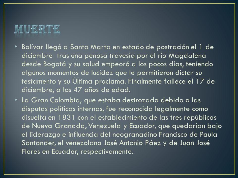 Bolívar llegó a Santa Marta en estado de postración el 1 de diciembre tras una penosa travesía por el río Magdalena desde Bogotá y su salud empeoró a
