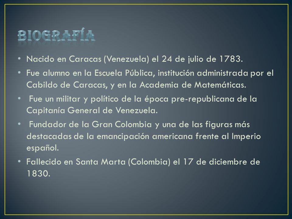 Nacido en Caracas (Venezuela) el 24 de julio de 1783. Fue alumno en la Escuela Pública, institución administrada por el Cabildo de Caracas, y en la Ac