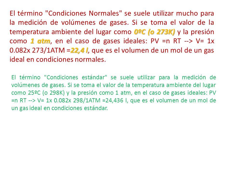 0ºC (o 273K) 1 atm 22,4 l El término