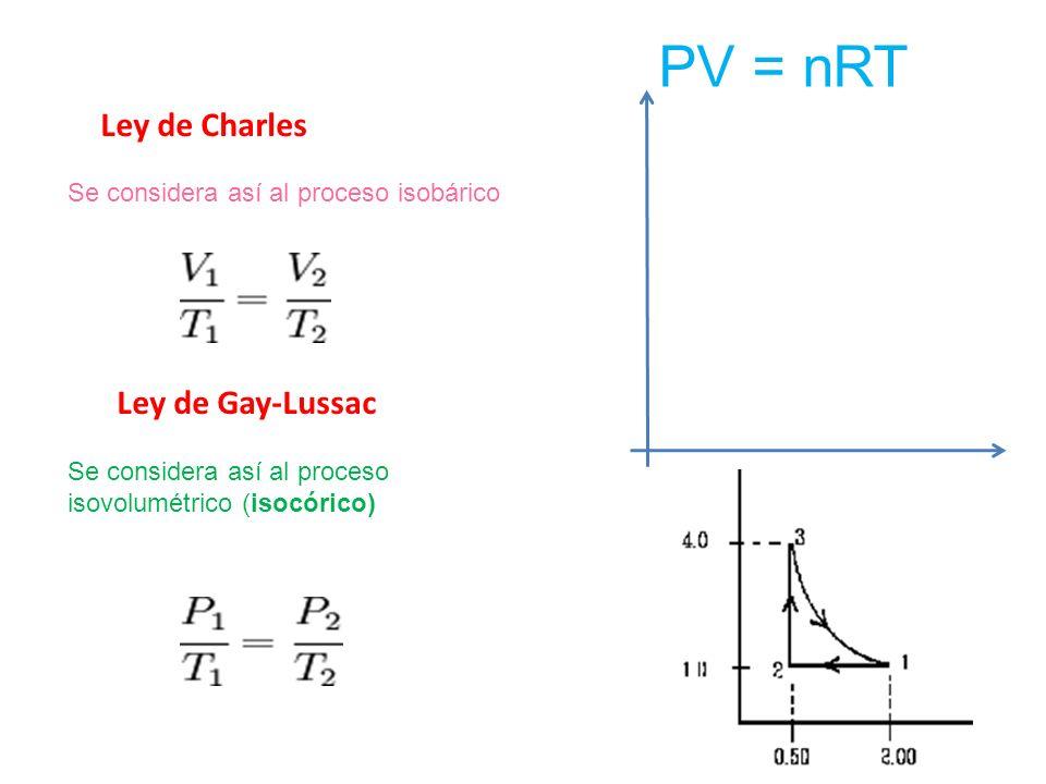 Ley de Charles Se considera así al proceso isobárico Ley de Gay-Lussac Se considera así al proceso isovolumétrico (isocórico) PV = nRT