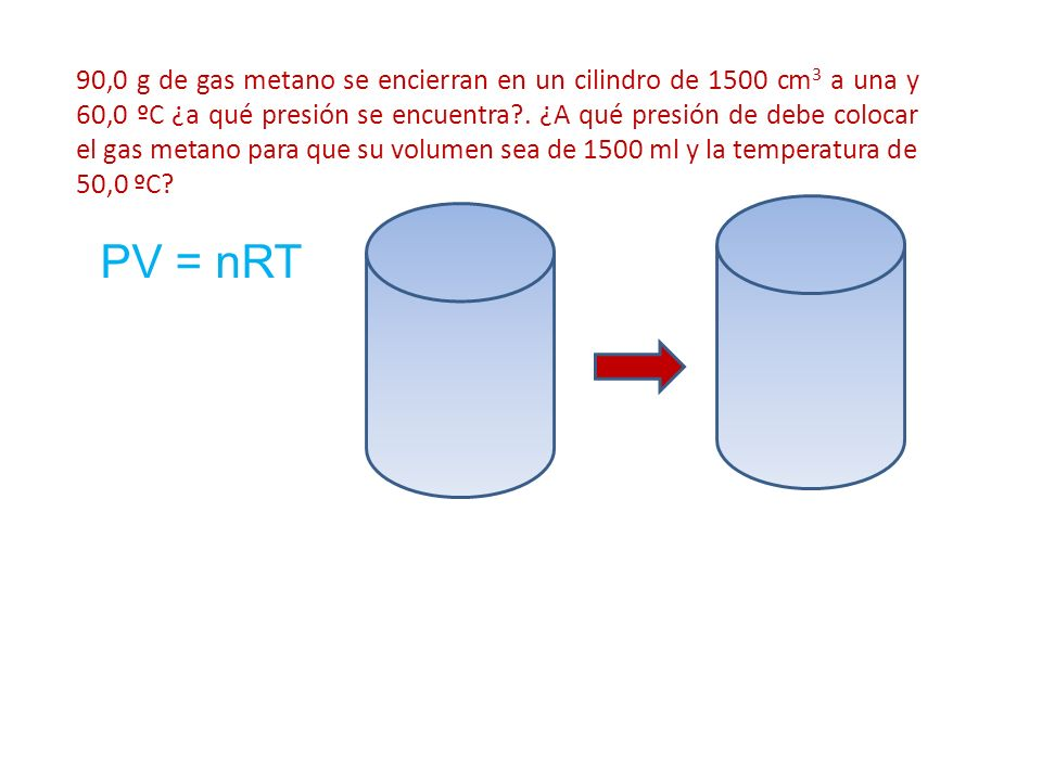 90,0 g de gas metano se encierran en un cilindro de 1500 cm 3 a una y 60,0 ºC ¿a qué presión se encuentra?. ¿A qué presión de debe colocar el gas meta