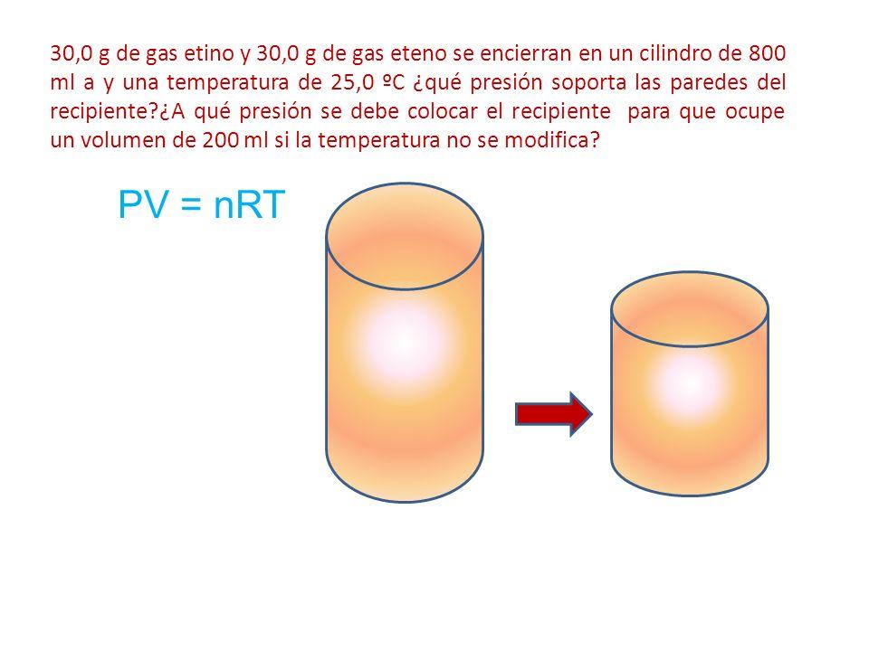 30,0 g de gas etino y 30,0 g de gas eteno se encierran en un cilindro de 800 ml a y una temperatura de 25,0 ºC ¿qué presión soporta las paredes del re