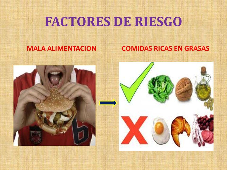 FACTORES DE RIESGO MALA ALIMENTACIONCOMIDAS RICAS EN GRASAS