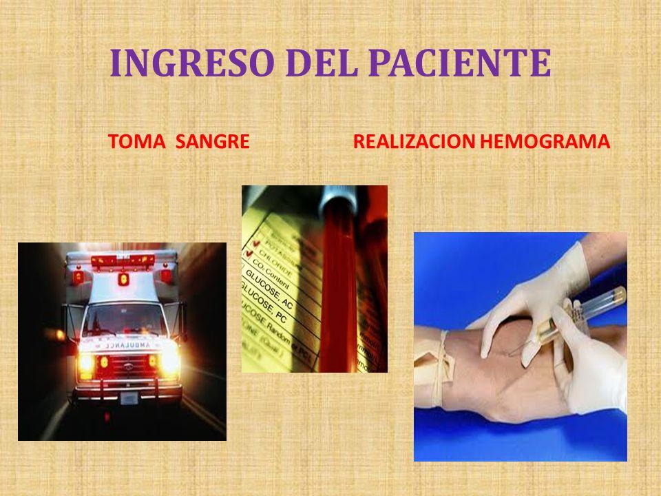 INGRESO DEL PACIENTE TOMA SANGREREALIZACION HEMOGRAMA