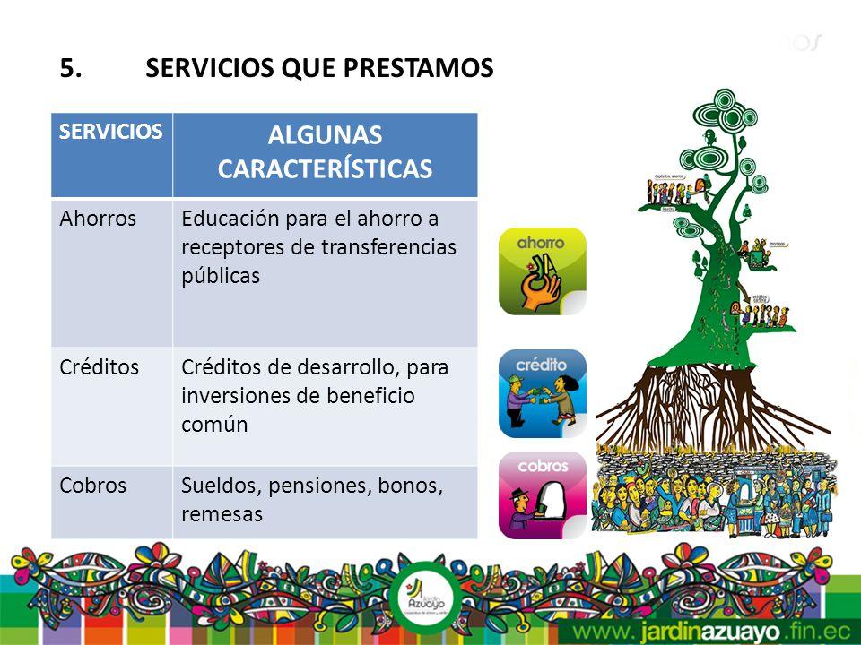 5. SERVICIOS QUE PRESTAMOS SERVICIOS ALGUNAS CARACTERÍSTICAS AhorrosEducación para el ahorro a receptores de transferencias públicas CréditosCréditos