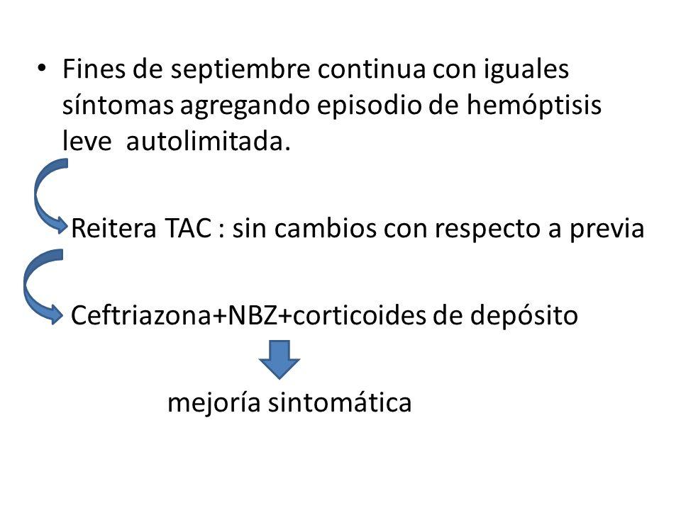 Fines de septiembre continua con iguales síntomas agregando episodio de hemóptisis leve autolimitada. Reitera TAC : sin cambios con respecto a previa