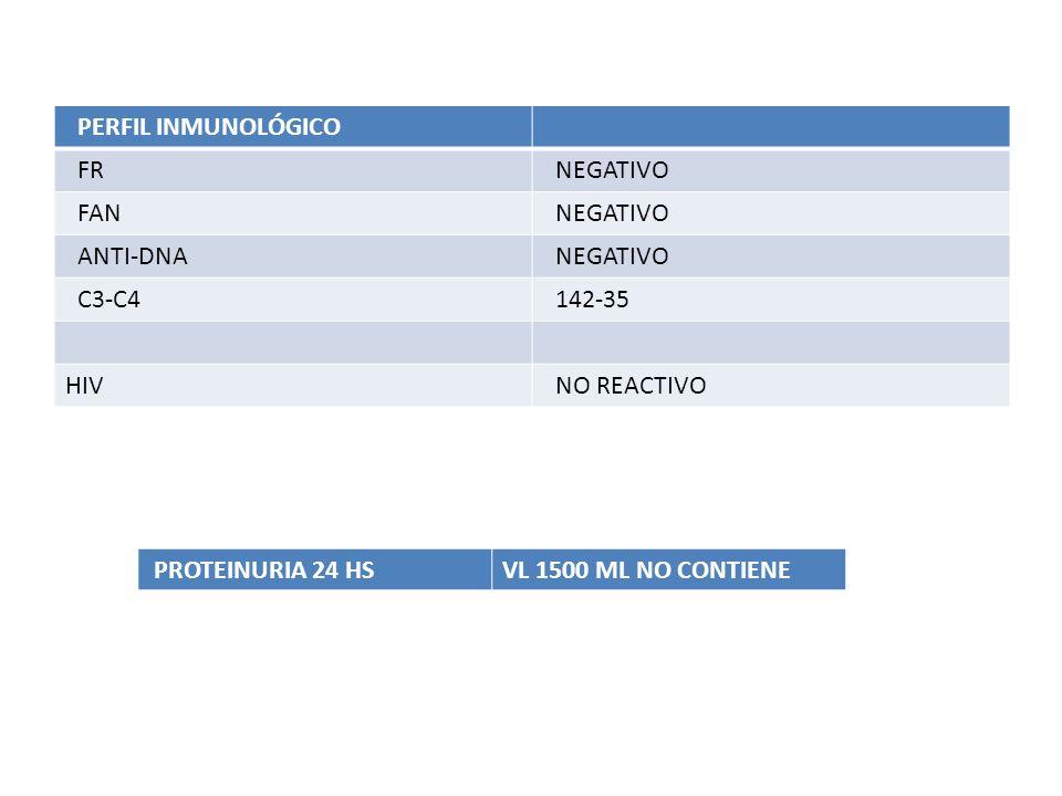 PERFIL INMUNOLÓGICO FR NEGATIVO FAN NEGATIVO ANTI-DNA NEGATIVO C3-C4 142-35 HIV NO REACTIVO PROTEINURIA 24 HSVL 1500 ML NO CONTIENE