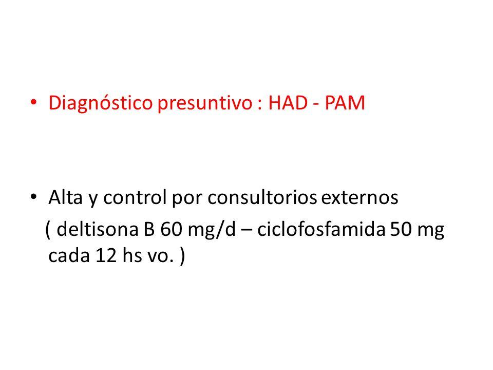 Diagnóstico presuntivo : HAD - PAM Alta y control por consultorios externos ( deltisona B 60 mg/d – ciclofosfamida 50 mg cada 12 hs vo. )