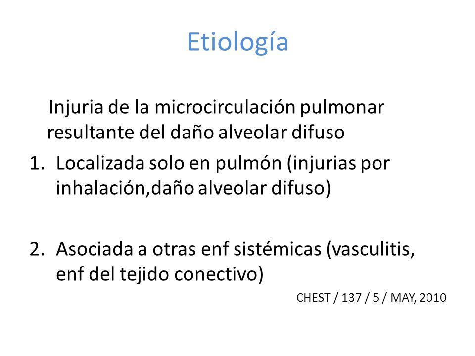 Etiología Injuria de la microcirculación pulmonar resultante del daño alveolar difuso 1.Localizada solo en pulmón (injurias por inhalación,daño alveol