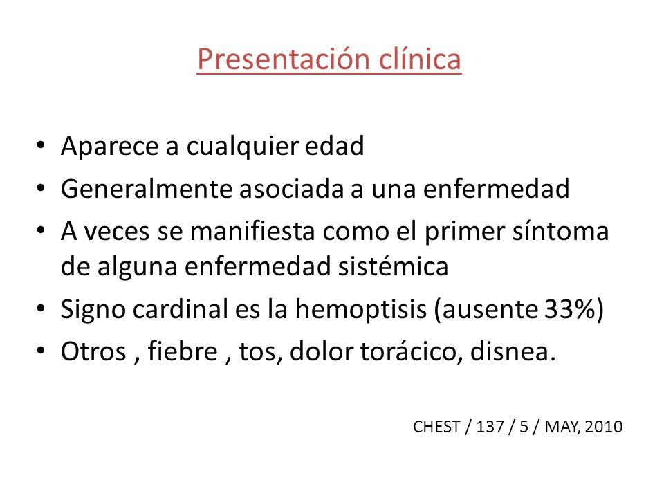 Presentación clínica Aparece a cualquier edad Generalmente asociada a una enfermedad A veces se manifiesta como el primer síntoma de alguna enfermedad