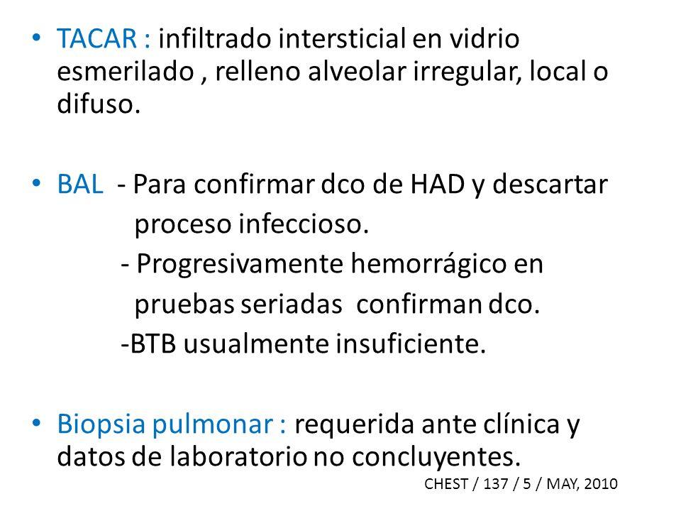 TACAR : infiltrado intersticial en vidrio esmerilado, relleno alveolar irregular, local o difuso. BAL - Para confirmar dco de HAD y descartar proceso