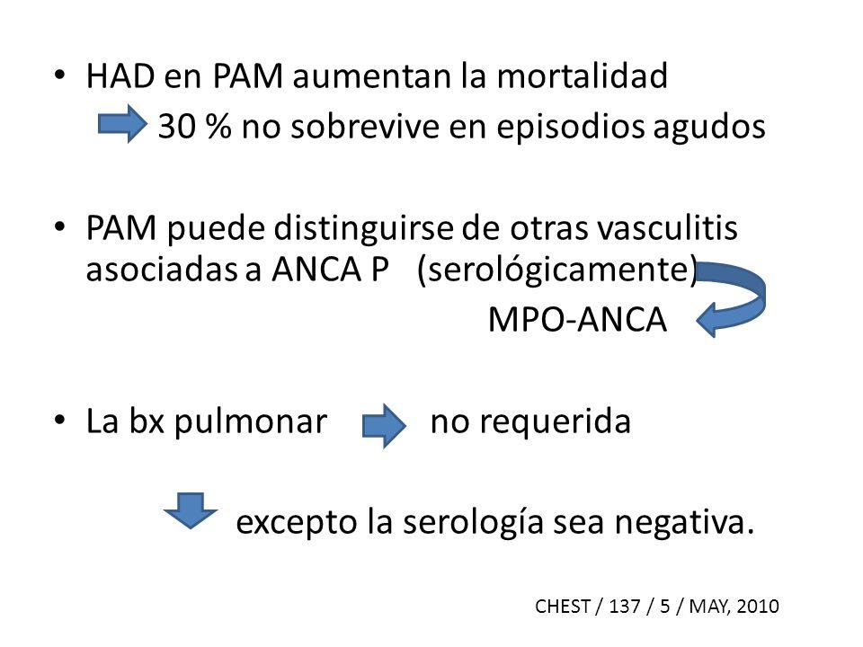 HAD en PAM aumentan la mortalidad 30 % no sobrevive en episodios agudos PAM puede distinguirse de otras vasculitis asociadas a ANCA P (serológicamente