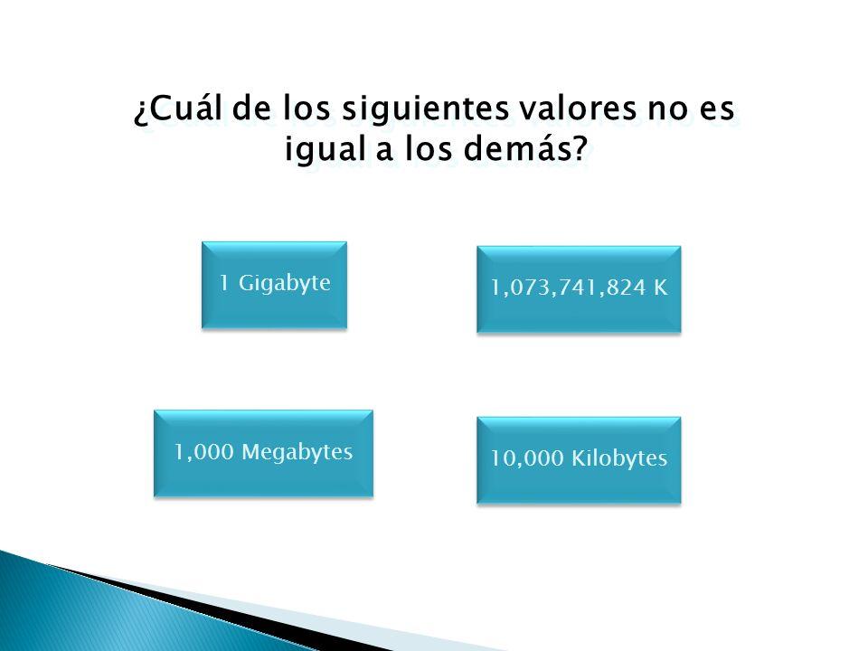 ¿Cuál de los siguientes valores no es igual a los demás? 1 MB 1,024 K 1 Megabyte 100,000 GB