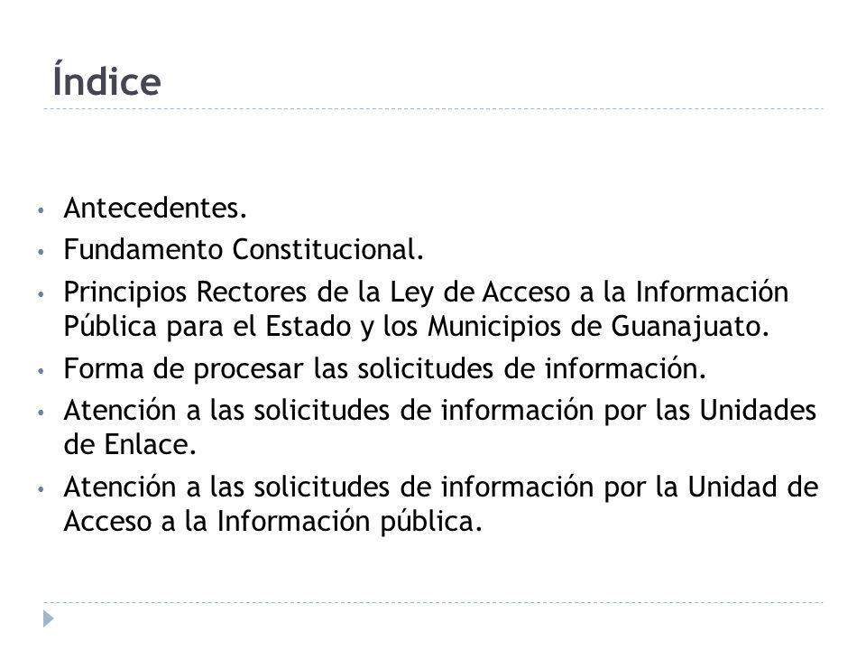 Índice Antecedentes. Fundamento Constitucional. Principios Rectores de la Ley de Acceso a la Información Pública para el Estado y los Municipios de Gu