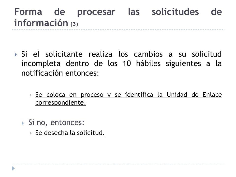 Forma de procesar las solicitudes de información (3) Si el solicitante realiza los cambios a su solicitud incompleta dentro de los 10 hábiles siguientes a la notificación entonces: Se coloca en proceso y se identifica la Unidad de Enlace correspondiente.