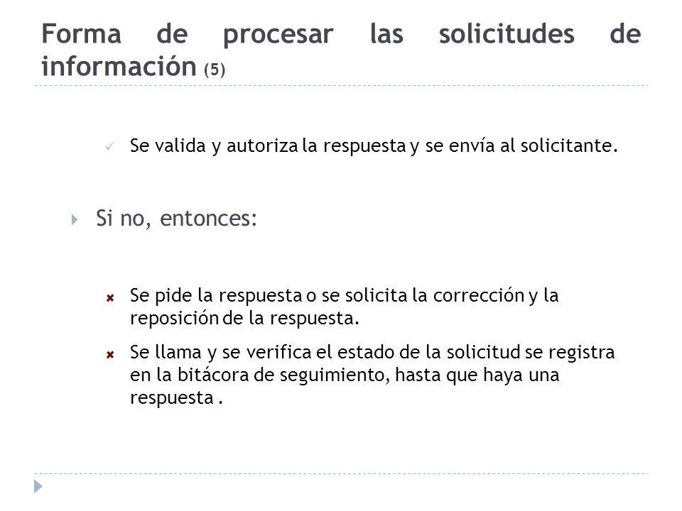 Forma de procesar las solicitudes de información (5) Se valida y autoriza la respuesta y se envía al solicitante. Si no, entonces: Se pide la respuest