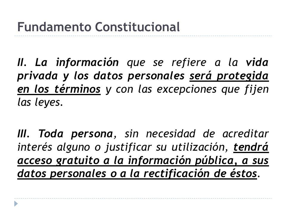 Fundamento Constitucional II. La información que se refiere a la vida privada y los datos personales será protegida en los términos y con las excepcio