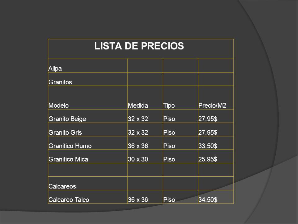 LISTA DE PRECIOS Allpa Granitos ModeloMedidaTipoPrecio/M2 Granito Beige32 x 32Piso27.95$ Granito Gris32 x 32Piso27.95$ Granitico Humo36 x 36Piso33.50$