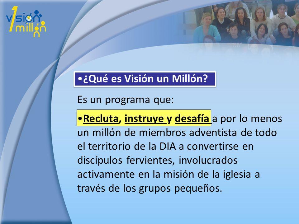 ¿Qué es Visión un Millón? Es un programa que: Recluta, instruye y desafía a por lo menos un millón de miembros adventista de todo el territorio de la