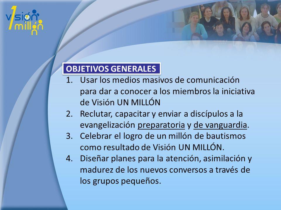 OBJETIVOS GENERALES 1.Usar los medios masivos de comunicación para dar a conocer a los miembros la iniciativa de Visión UN MILLÓN 2.Reclutar, capacita
