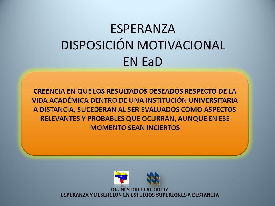 DR. NÉSTOR LEAL ORTIZ ESPERANZA Y DESERCIÓN EN ESTUDIOS SUPERIORES A DISTANCIA ESPERANZA DISPOSICIÓN MOTIVACIONAL EN EaD CREENCIA EN QUE LOS RESULTADO