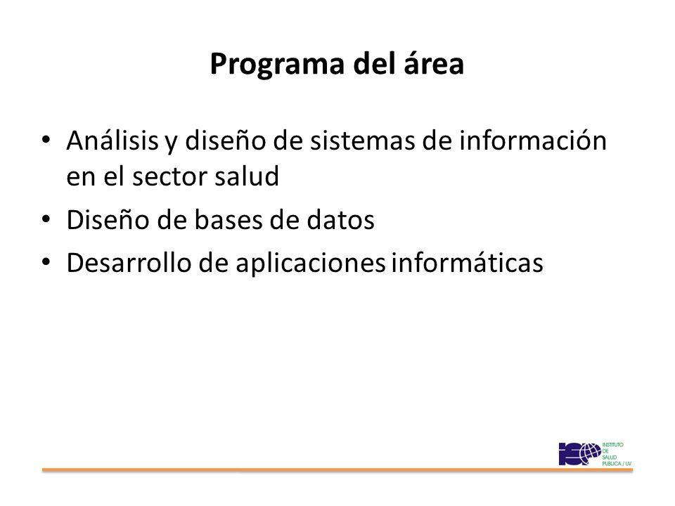 Programa del área Análisis y diseño de sistemas de información en el sector salud Diseño de bases de datos Desarrollo de aplicaciones informáticas