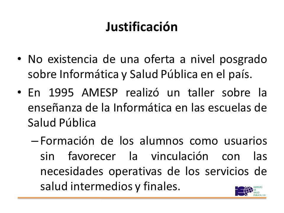 Justificación No existencia de una oferta a nivel posgrado sobre Informática y Salud Pública en el país. En 1995 AMESP realizó un taller sobre la ense
