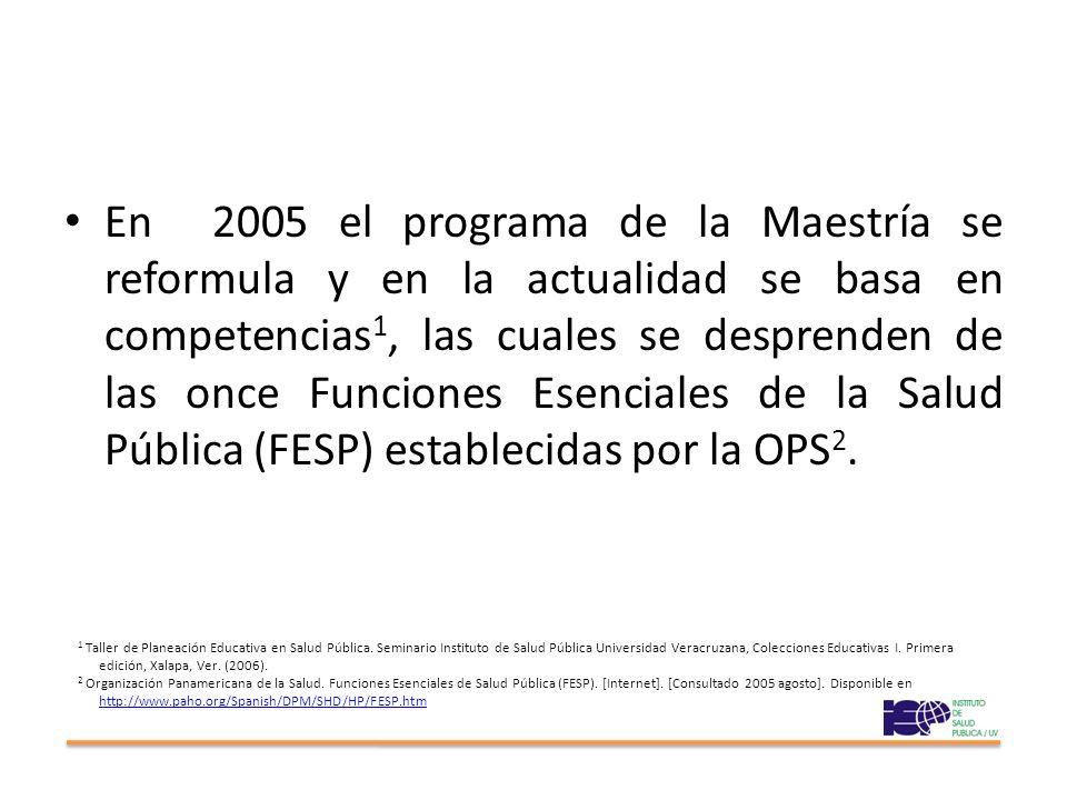 En 2005 el programa de la Maestría se reformula y en la actualidad se basa en competencias 1, las cuales se desprenden de las once Funciones Esenciales de la Salud Pública (FESP) establecidas por la OPS 2.