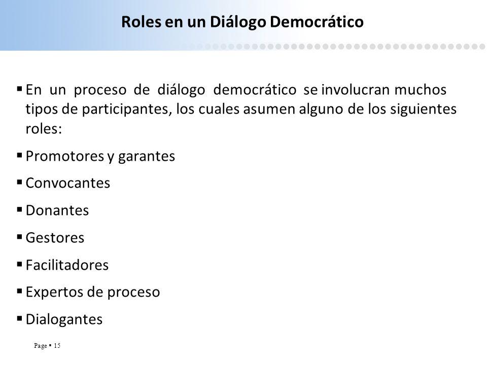 Page 15 Roles en un Diálogo Democrático En un proceso de diálogo democrático se involucran muchos tipos de participantes, los cuales asumen alguno de