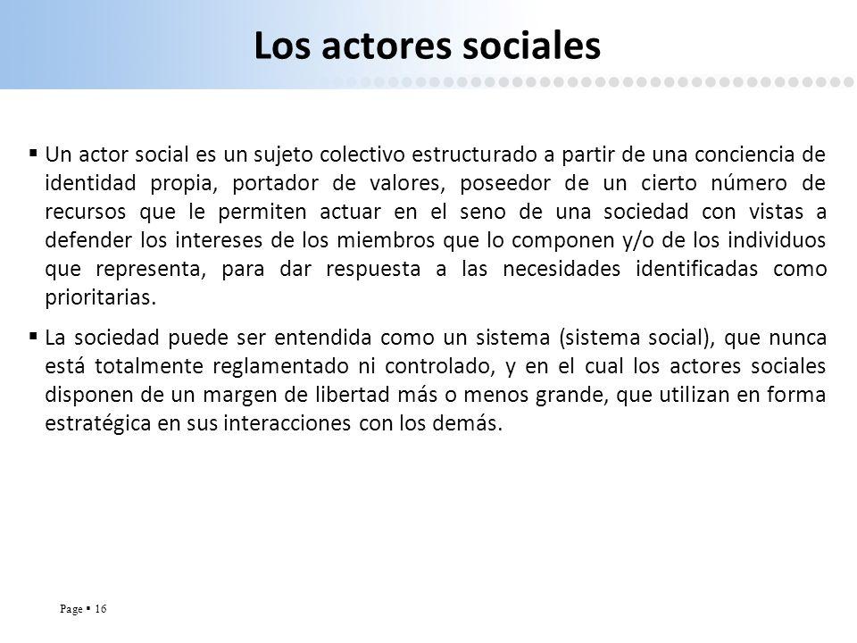 Page 16 Los actores sociales Un actor social es un sujeto colectivo estructurado a partir de una conciencia de identidad propia, portador de valores,