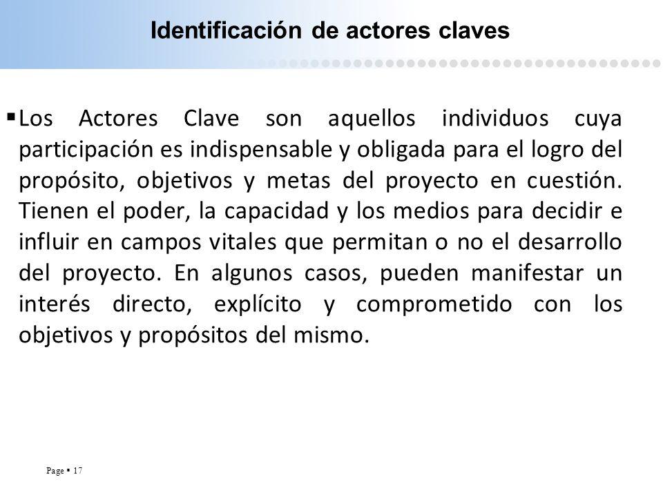 Page 17 Identificación de actores claves Los Actores Clave son aquellos individuos cuya participación es indispensable y obligada para el logro del pr