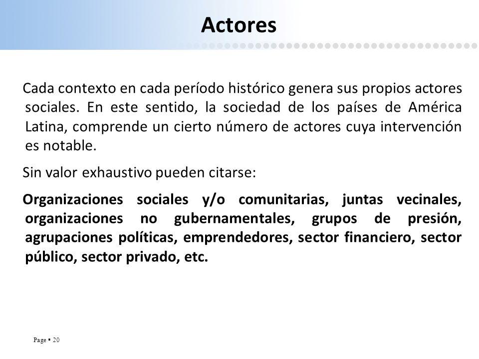 Page 20 Actores Cada contexto en cada período histórico genera sus propios actores sociales. En este sentido, la sociedad de los países de América Lat