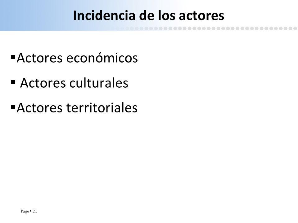 Page 21 Incidencia de los actores Actores económicos Actores culturales Actores territoriales