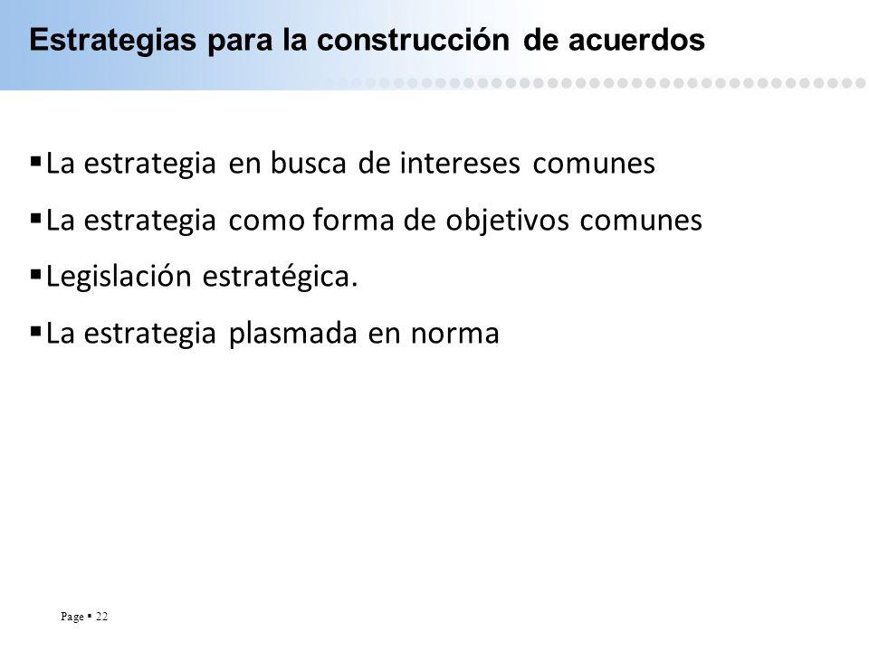 Page 22 Estrategias para la construcción de acuerdos La estrategia en busca de intereses comunes La estrategia como forma de objetivos comunes Legisla
