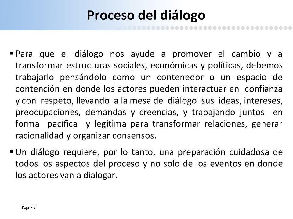Page 8 Proceso del diálogo Para que el diálogo nos ayude a promover el cambio y a transformar estructuras sociales, económicas y políticas, debemos tr