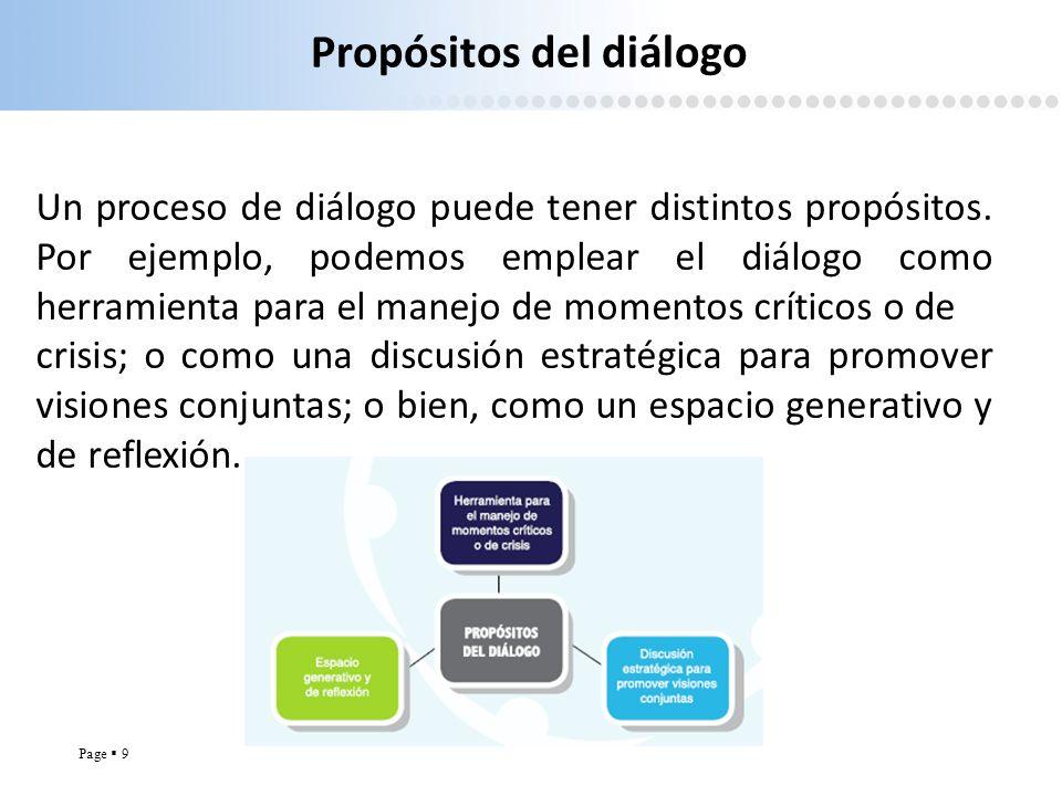 Page 9 Propósitos del diálogo Un proceso de diálogo puede tener distintos propósitos. Por ejemplo, podemos emplear el diálogo como herramienta para el