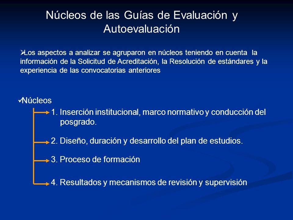 Núcleos de las Guías de Evaluación y Autoevaluación Los aspectos a analizar se agruparon en núcleos teniendo en cuenta la información de la Solicitud