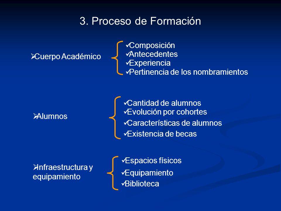 3. Proceso de Formación Composición Antecedentes Experiencia Cuerpo Académico Pertinencia de los nombramientos Infraestructura y equipamiento Equipami