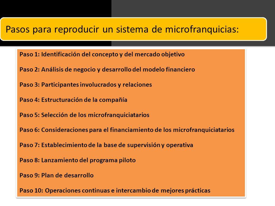 Pasos para reproducir un sistema de microfranquicias: Paso 1: Identificación del concepto y del mercado objetivo Paso 2: Análisis de negocio y desarro