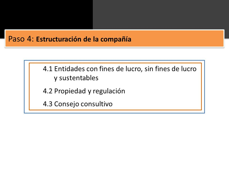 4.1 Entidades con fines de lucro, sin fines de lucro y sustentables 4.2 Propiedad y regulación 4.3 Consejo consultivo Paso 4: Estructuración de la com
