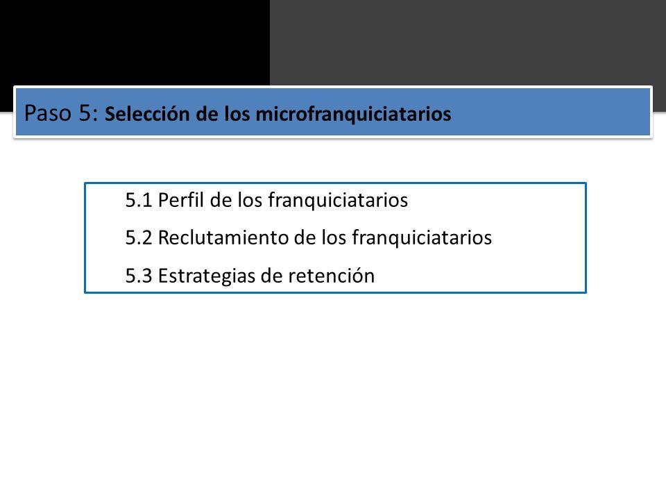 5.1 Perfil de los franquiciatarios 5.2 Reclutamiento de los franquiciatarios 5.3 Estrategias de retención Paso 5: Selección de los microfranquiciatari