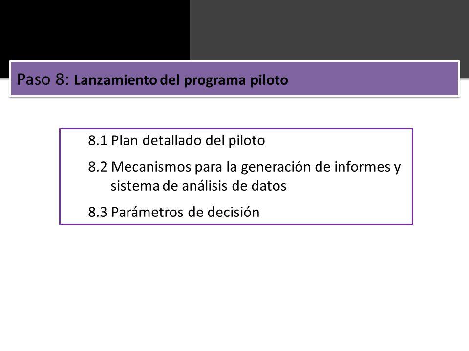 8.1 Plan detallado del piloto 8.2 Mecanismos para la generación de informes y sistema de análisis de datos 8.3 Parámetros de decisión Paso 8: Lanzamie