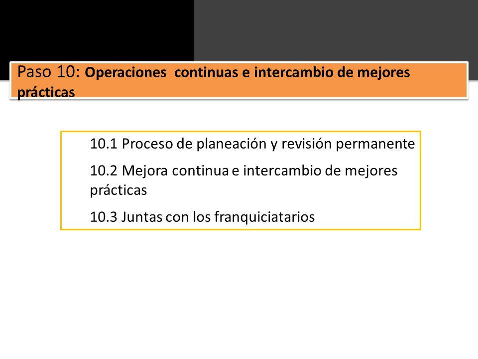 10.1 Proceso de planeación y revisión permanente 10.2 Mejora continua e intercambio de mejores prácticas 10.3 Juntas con los franquiciatarios Paso 10: