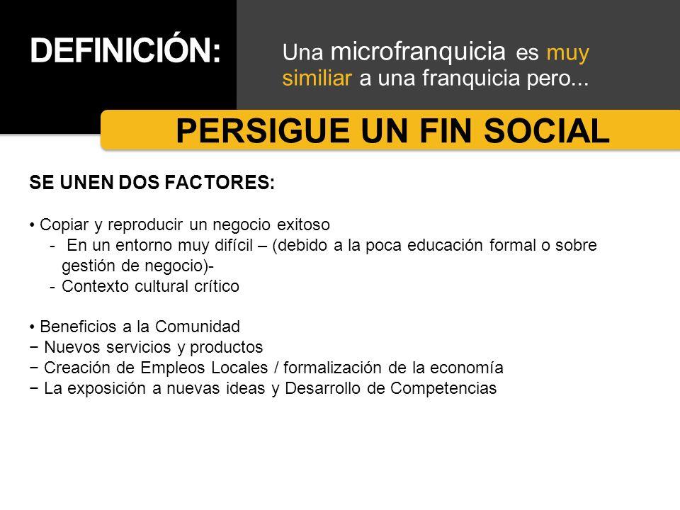 DEFINICIÓN: Una microfranquicia es muy similiar a una franquicia pero... PERSIGUE UN FIN SOCIAL SE UNEN DOS FACTORES: Copiar y reproducir un negocio e