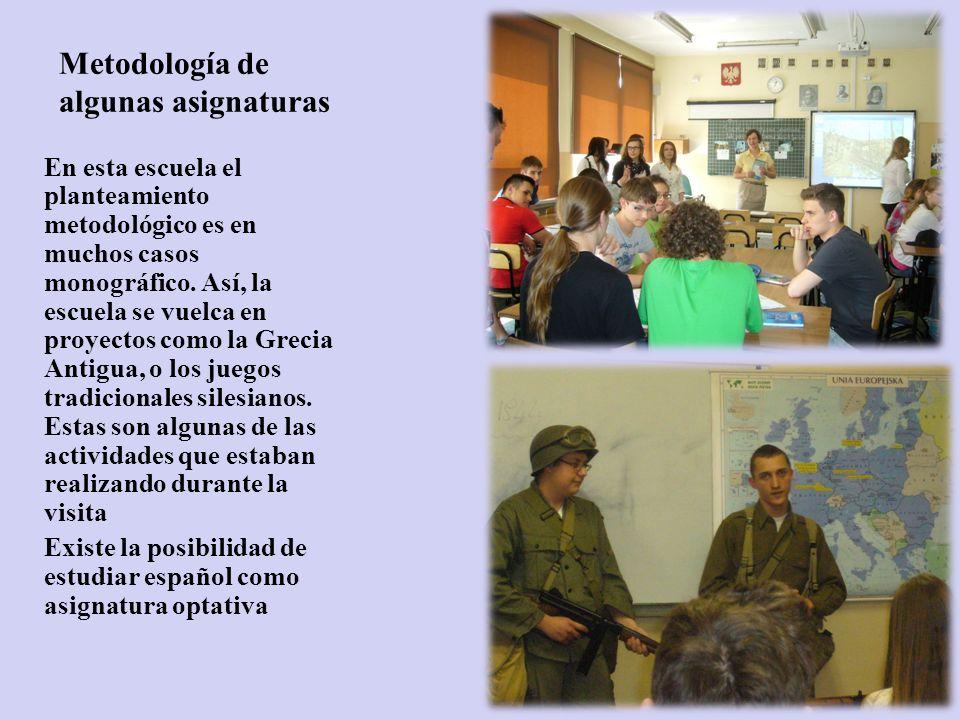 Metodología de algunas asignaturas En esta escuela el planteamiento metodológico es en muchos casos monográfico.