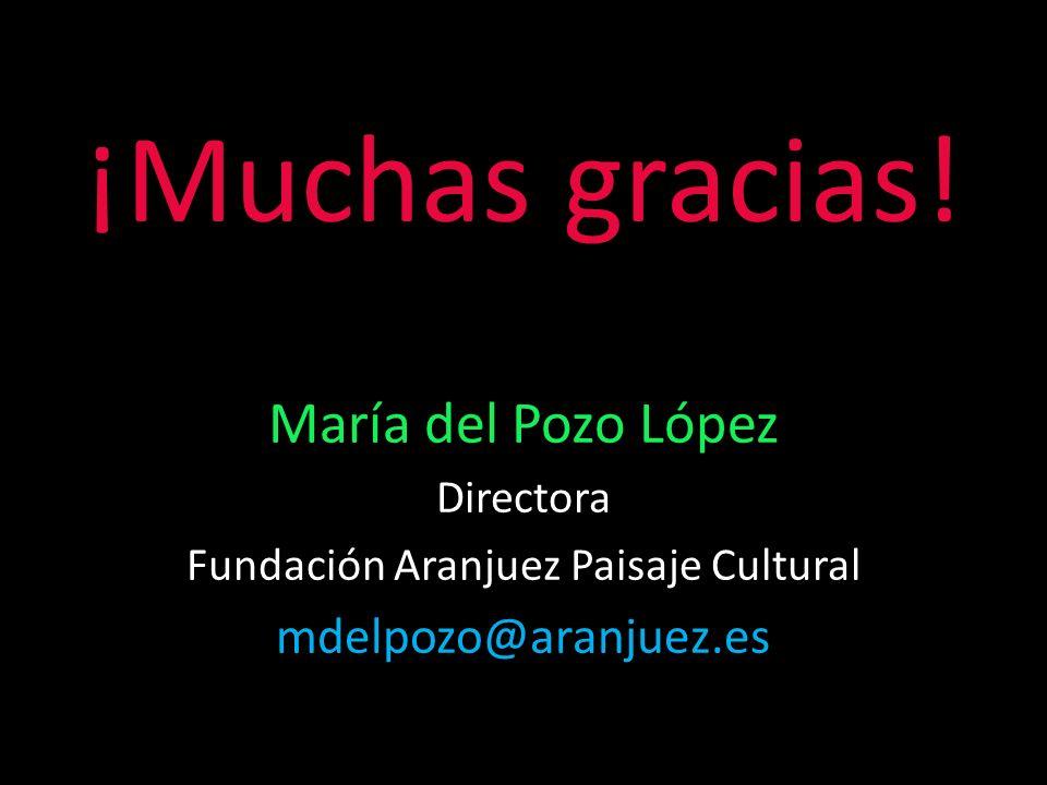 ¡Muchas gracias! María del Pozo López Directora Fundación Aranjuez Paisaje Cultural mdelpozo@aranjuez.es
