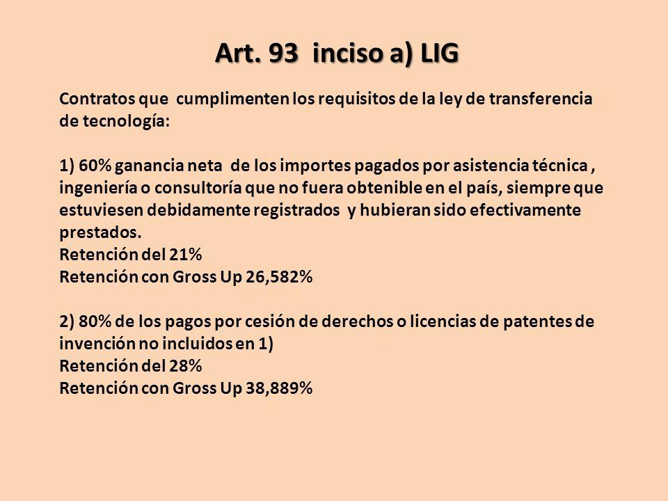 Contratos que cumplimenten los requisitos de la ley de transferencia de tecnología: 1) 60% ganancia neta de los importes pagados por asistencia técnic