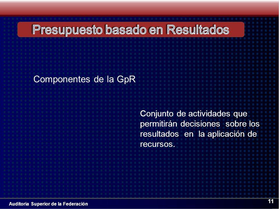 Auditoría Superior de la Federación 11 Conjunto de actividades que permitirán decisiones sobre los resultados en la aplicación de recursos.