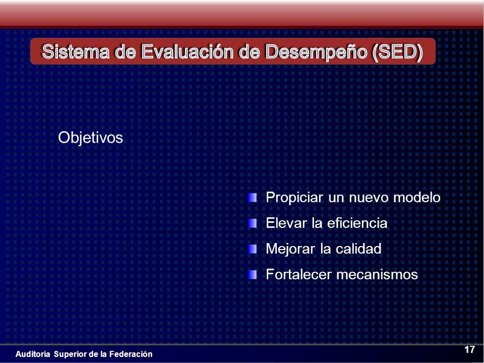 Auditoría Superior de la Federación 17 Propiciar un nuevo modelo Elevar la eficiencia Mejorar la calidad Fortalecer mecanismos Objetivos